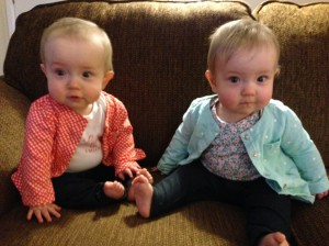Mary and Anna proudly wearing their blue jeans for babies