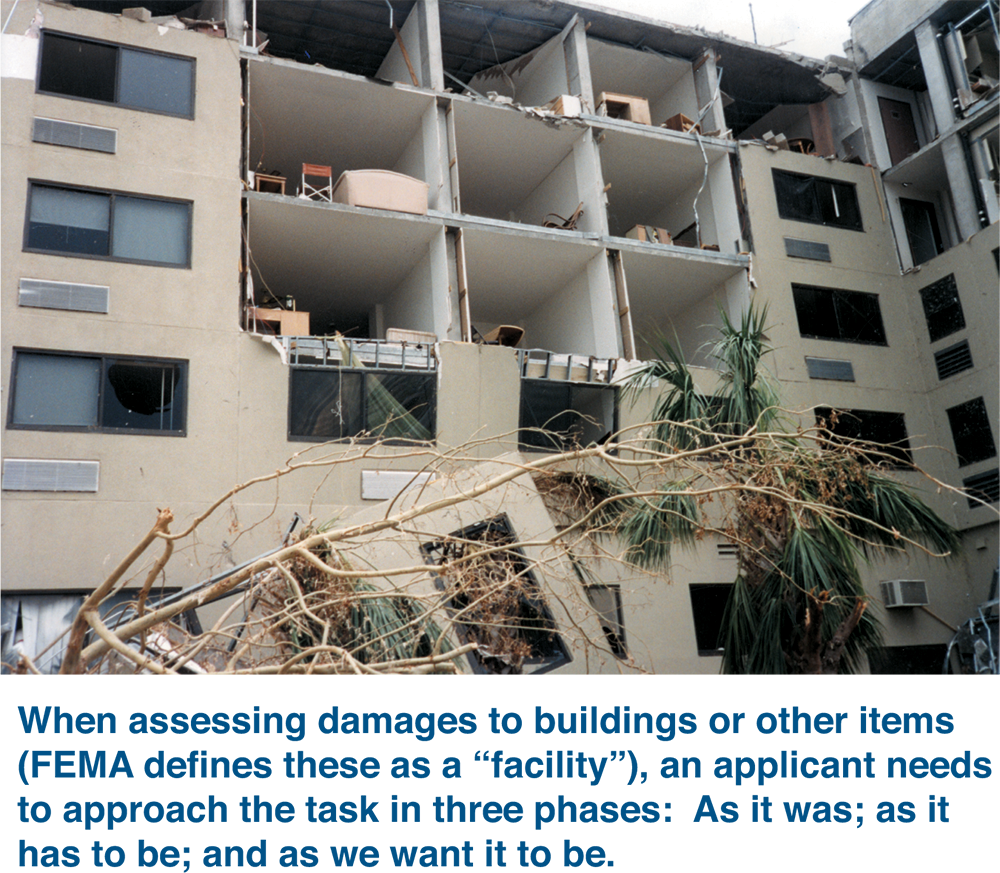 "when assessing damages to buildings or other items fema defines these as a ""facility"", an applicant needs to approach the task in three phases: as it was; as it has to be; and as we want it to be"
