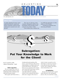 Adjusting Today - Subrogation: Subrogation