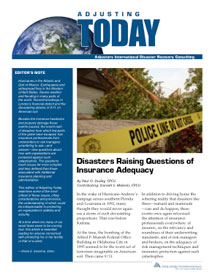 Adjusting Today - Disasters Raising Questions of Insurance Adequacy: Disasters Raising Questions of Insurance Adequacy