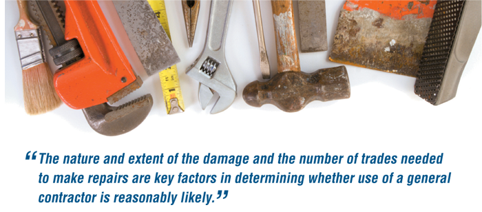 The nature and extent of the damage and the extent of the trades needed to make repairs