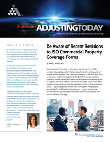 Adjusting Today - Be Aware of Recent Revisions to ISO Commercial Property Coverage Forms: Be Aware of Recent Revisions to ISO Commercial Property Coverage Forms