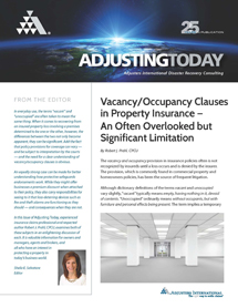 Adjusting Today - Vacancy/Occupancy Clauses; Protective Safeguards Endorsements: Vacancy/Occupancy Clauses; Protective Safeguards Endorsements
