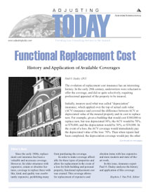 Adjusting Today - Functional Replacement Cost: Functional Replacement Cost