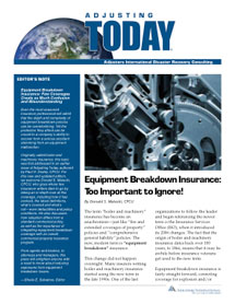 Adjusting Today - Equipment Breakdown Insurance: Equipment Breakdown Insurance