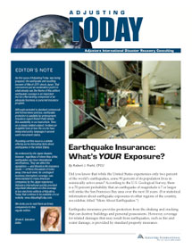 Adjusting Today - Earthquake Insurance: Earthquake Insurance