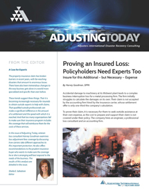 Adjusting Today - Proving an Insured Loss: Policyholders Need Experts Too: Proving an Insured Loss: Policyholders Need Experts Too