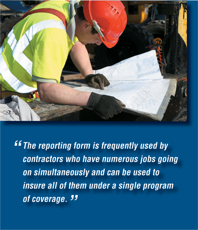 The reporting form is frequently used by contractors who have numerous jobs going on simultaneously