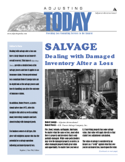 Adjusting Today - Salvage: Salvage