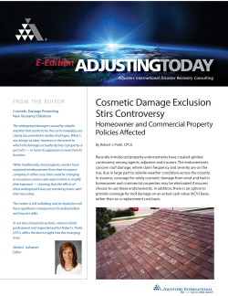 Adjusting Today - Cosmetic Damage Exclusion Stirs Controversy: Cosmetic Damage Exclusion Stirs Controversy