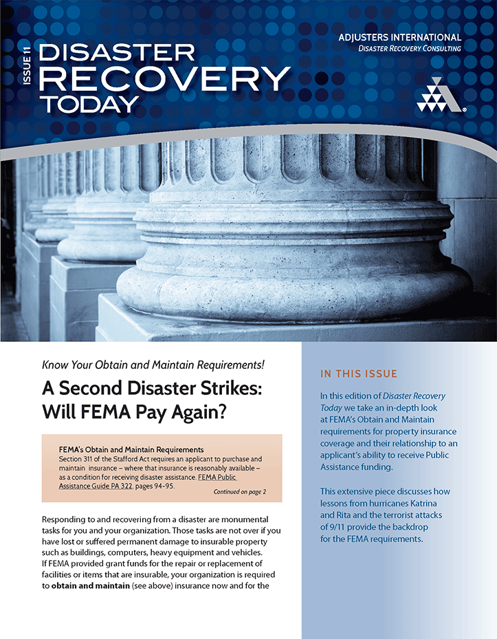 Disaster Recovery Today - A Second Disaster Strikes: Will FEMA Pay Again?: A Second Disaster Strikes: Will FEMA Pay Again?